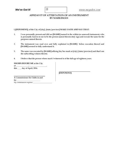 Attestation Letter Uk canada affidavit of attestation by marksman forms and business templates megadox