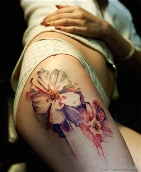 tattoos pictures flowers 82 superb flower tattoos on thigh