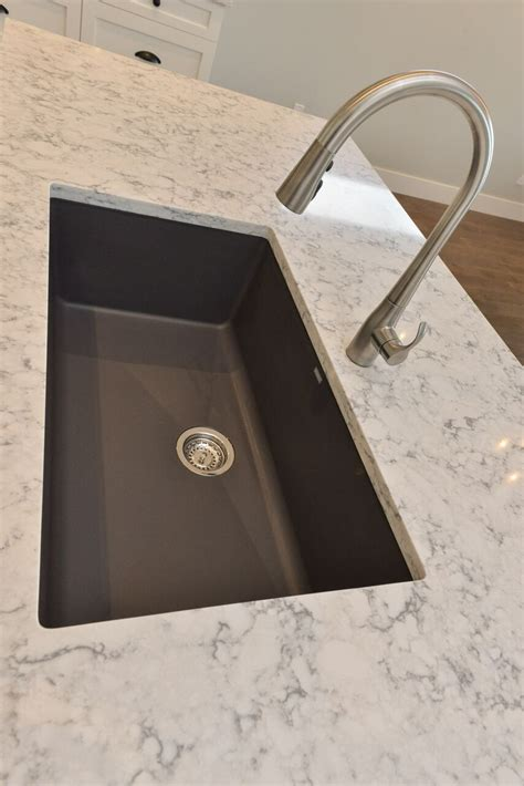 quartz countertop with undermount sink blanco silgranite kitchen sink in cidner with kohler