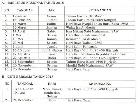 Print Kalender 2018 Tahunan hari libur nasional dan cuti bersama tahun 2018