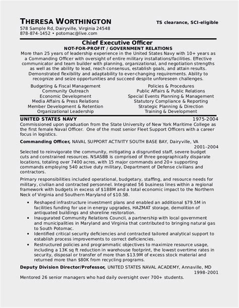 to civilian resume template resume exles for civilian to