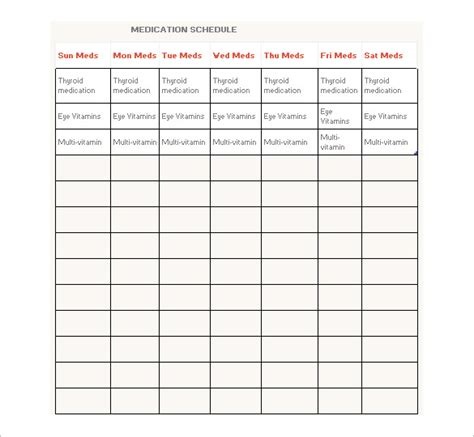 medication schedule template calendar free printable
