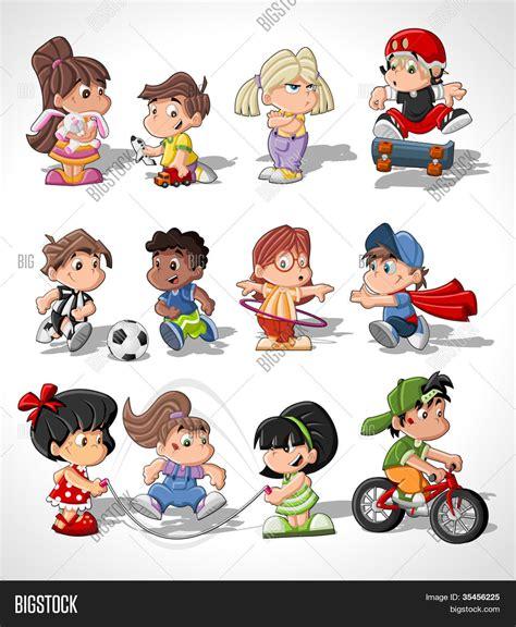 imagenes niños animados jugando vectores y fotos en stock de ni 241 os de dibujos animados