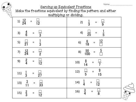 4th grade equivalent fractions worksheet worksheets for