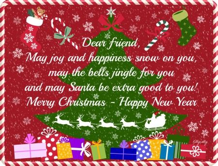 merry christmas dear friends christmas tree happy  year christmas card words merry
