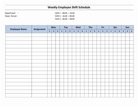 weekly work schedule template and monthly employee work