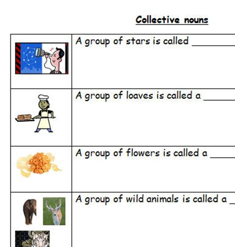 Collective Nouns Worksheets For Grade 6 by Collective Nouns For Grade 6