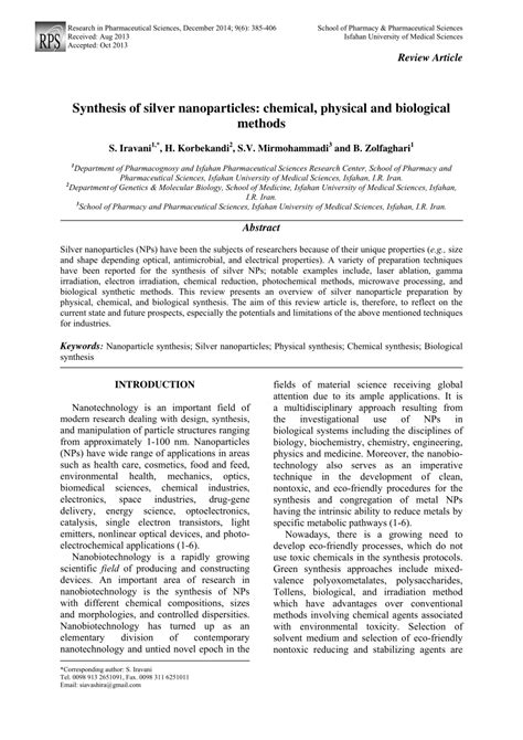 research paper on nanoparticles synthesis of silver nanoparticles pdf available