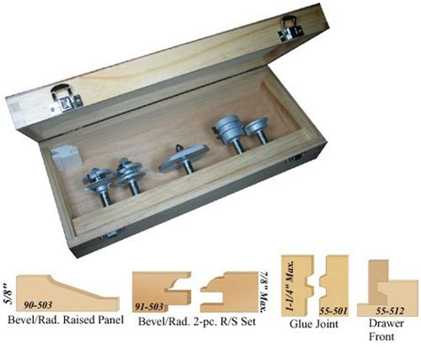 Kitchen Cabinet Door Router Bits 00 107 5 Bevel Kitchen Cabinet Door Router Bit Set With Free Set Up Blocks