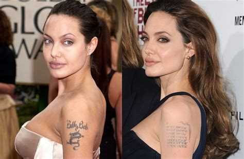 angelina jolie tattoo billy bob removed who regret tattoos featuring their ex s