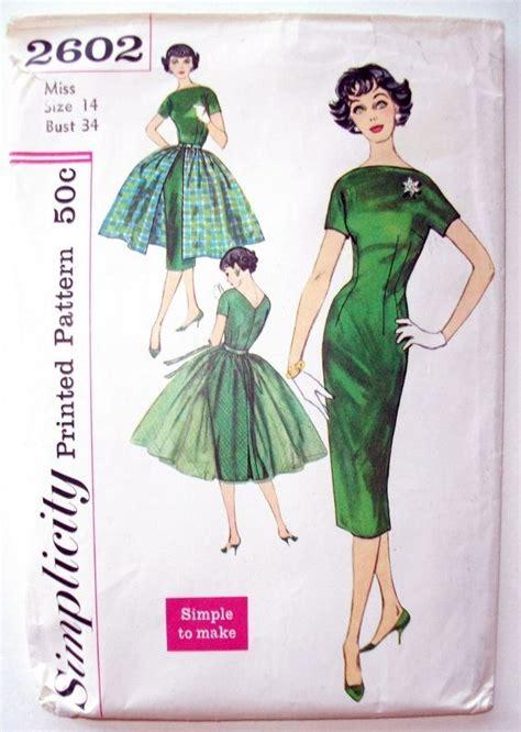 boat neck top dress pattern simplicity 2602 1950 s vintage boat neck wiggle or fit