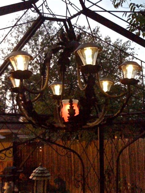 Solar Chandelier For Gazebo Solar Chandelier Repurposed Chandelier With Solar Lights For Patio Make Your Own Diy Solar