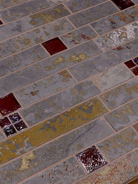 Brazilian Rusty Slate Subway Glass Backsplash Tile