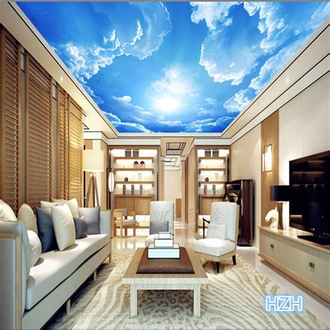 wallpaper for lobby wall beibehang photo wallpaper clouds sky blue and white wall