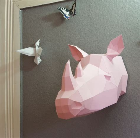 How To Make A Rhino Out Of Paper - faux trophy quot rhino quot papercraft rhinoceros template