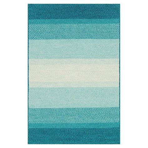 Zadie Coastal Beach Stripe Blue Aqua Outdoor Rug 3 6x5 6 Aqua Outdoor Rug