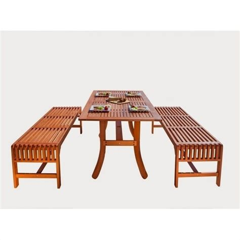 3 Piece Wood Patio Dining Set V189set13 3 Patio Dining Set