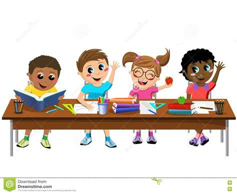 Kid At Desk Happy Children Sitting Desk Classroom School Vector Cartoondealer 81200627