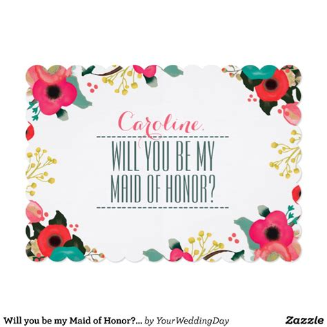 will you be my of honor template will you be my of honor custom invitations zazzle