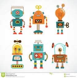 Set of vintage robot icons royalty free stock image image 33525026