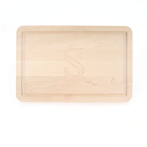 Nama Inisial Cutting Laser Big Size carved initial 10 1 2 quot x 16 quot rectangle maple cutting board