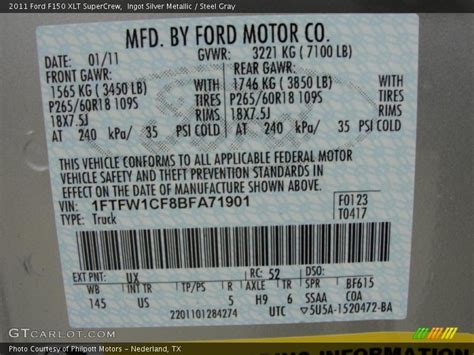 2011 f150 xlt supercrew ingot silver metallic color code ux photo no 46204220 gtcarlot
