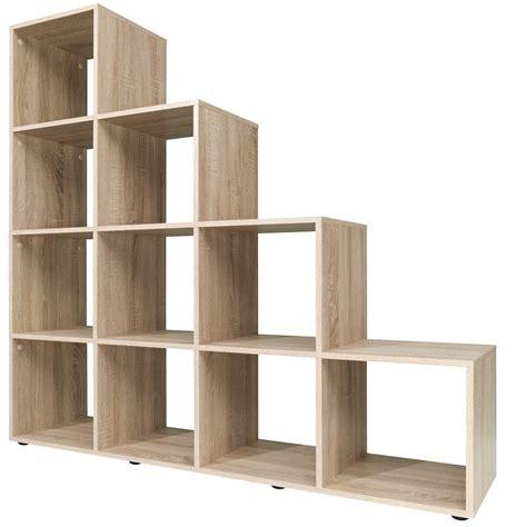 6 shelf oak bookcase step storage shelf cube wooden 10 6 boxes bookcase
