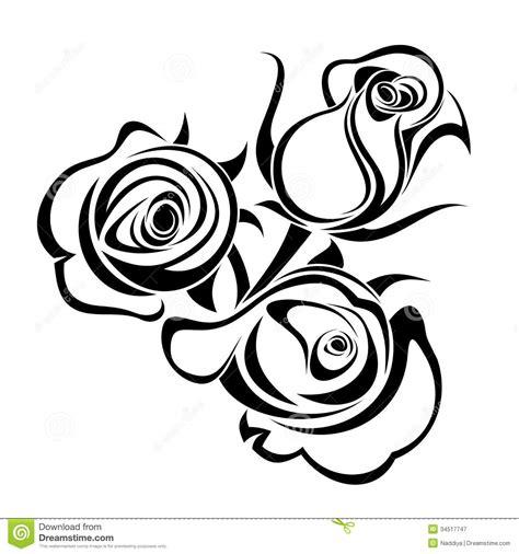 Black Bud Vases Rose Buds Black Silhouettes Stock Vector Image 34517747