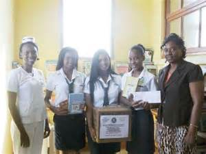 montego bay students donate books to falmouth hospital
