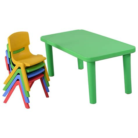 Play School Desk And Chair by Giantex Plastic Table And 4 Chairs Set Colorful Play