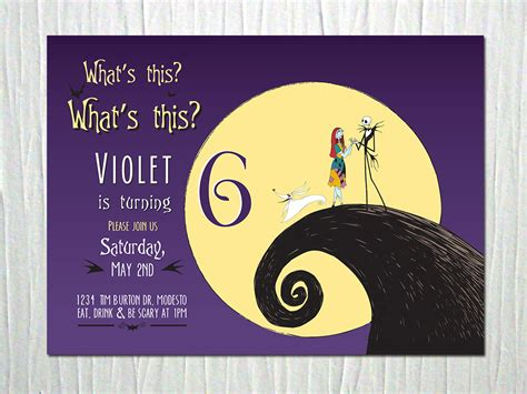 Nightmare Before Christmas Birthday Party Invitation Digital Nightmare Before Invitations Templates Free