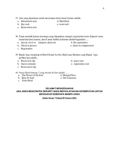 Confirmation Letter Adalah Soal Uas Teori Kejuruan Akomodasi Perhotelan 2012 2013 Smk Pariwisat