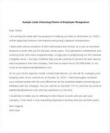 Letter To Inform Clients Of Resignation by Sle Letter Of Resignation 9 Free Documents In Doc