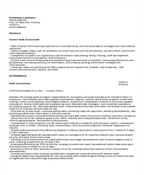 resume format for experienced staff 33 accountant resume sles