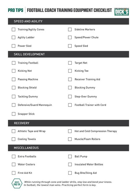 athletic room equipment list the football coach checklist football equipment essentials pro tips by s