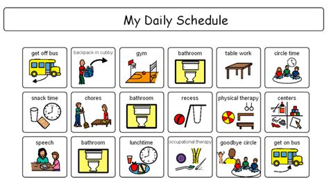 free printable daily visual schedule friday favorites project autism work pinterest