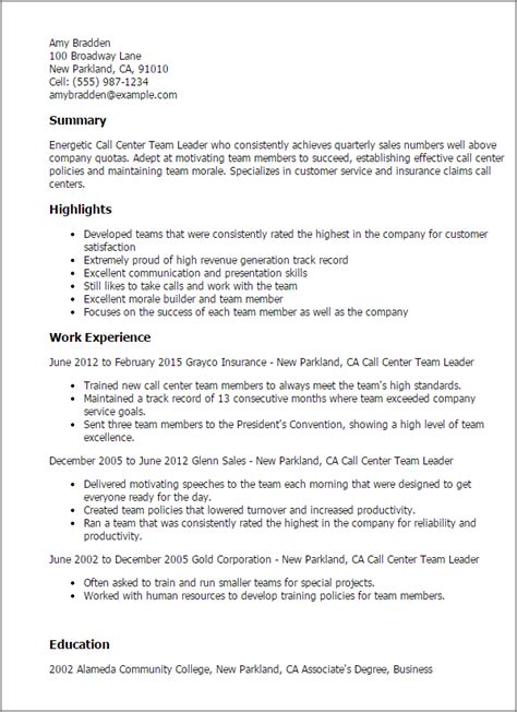 Professional Call Center Team Leader Templates To Showcase Your Talent Myperfectresume Team Lead Resume Template