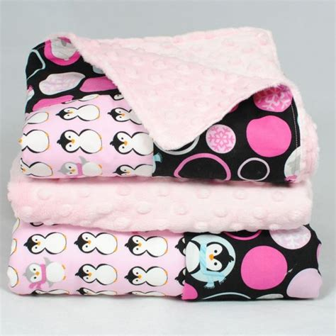 penguin baby bedding penguin baby blanket pink dimple dot minky with winter