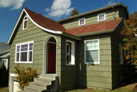 exterior paint green seattle maple leaf neighborhood bungalow step up painting