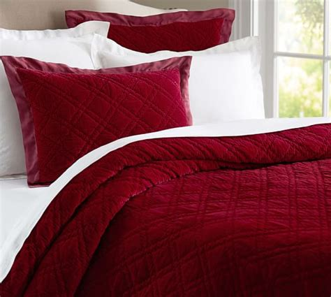 velvet bedding washed velvet silk quilt sham pottery barn