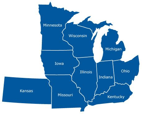 us midwest region map quiz image gallery midwest america