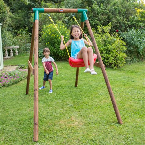 tikes swing set tikes single wooden swing outdoor garden