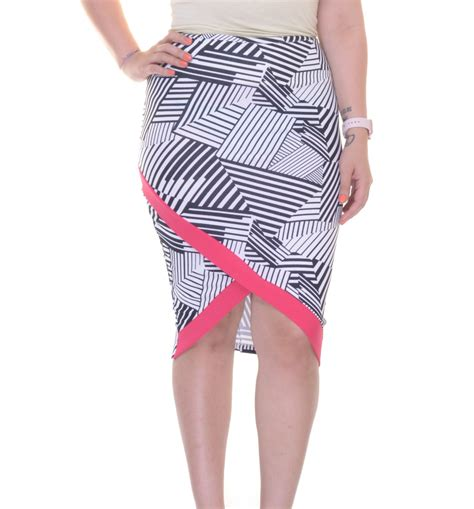 material printed asymmetrical midi pencil skirt size