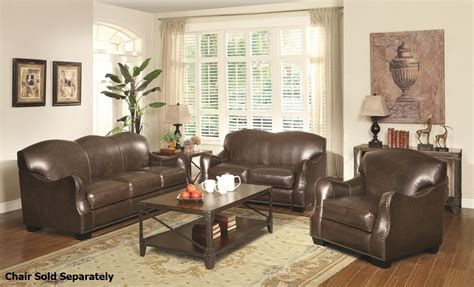 brown leather sofa sets coaster chesapeake 501781 501782 brown leather sofa and