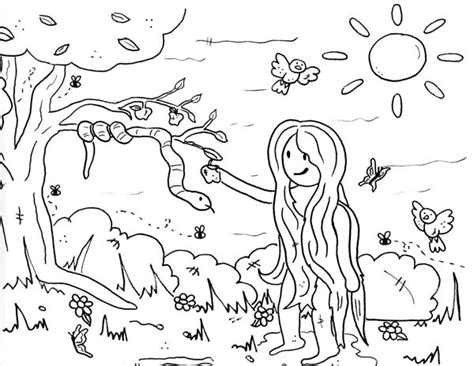 eve pick forbidden fruit  garden  eden coloring page