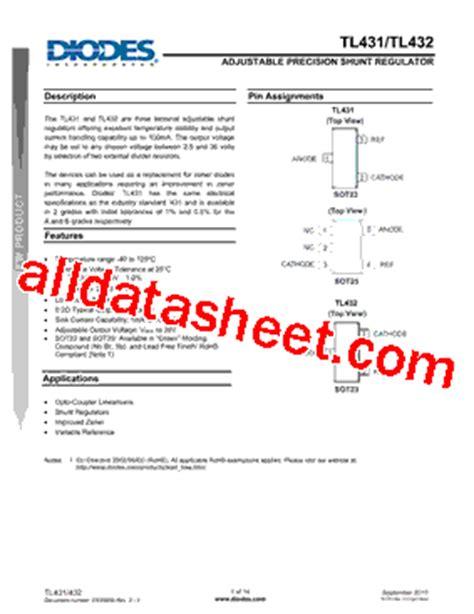 transistor w431 datasheet tl431 datasheet pdf diodes incorporated