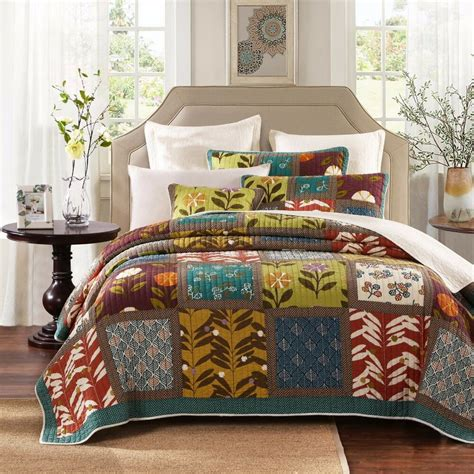 colorful bedspreads tache cotton 3 colorful floral summer day patchwork