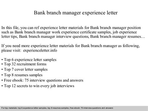 Experience Letter Marketing Officer Bank Branch Manager Experience Letter