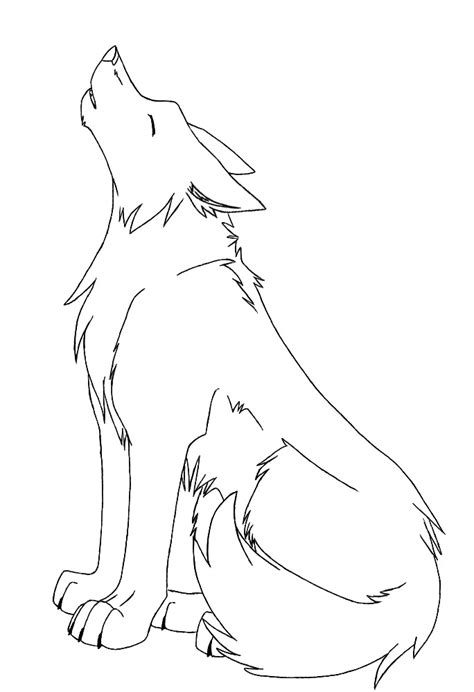 Anime Sitting Outline by Sitting Howling Wolf Coloring Pages