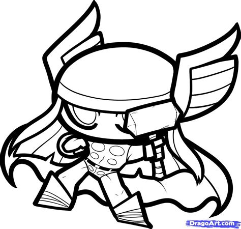chibi marvel coloring pages draw chibi thor step by step drawing sheets added by